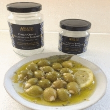 Green olives stuffed with almonds in extra virgin olive oil